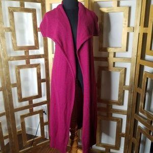BRYN WALKER Fuchsia Pink Duster Cardigan Sweater M